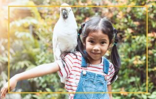 Little girl holding a big white parrot on her shoulder
